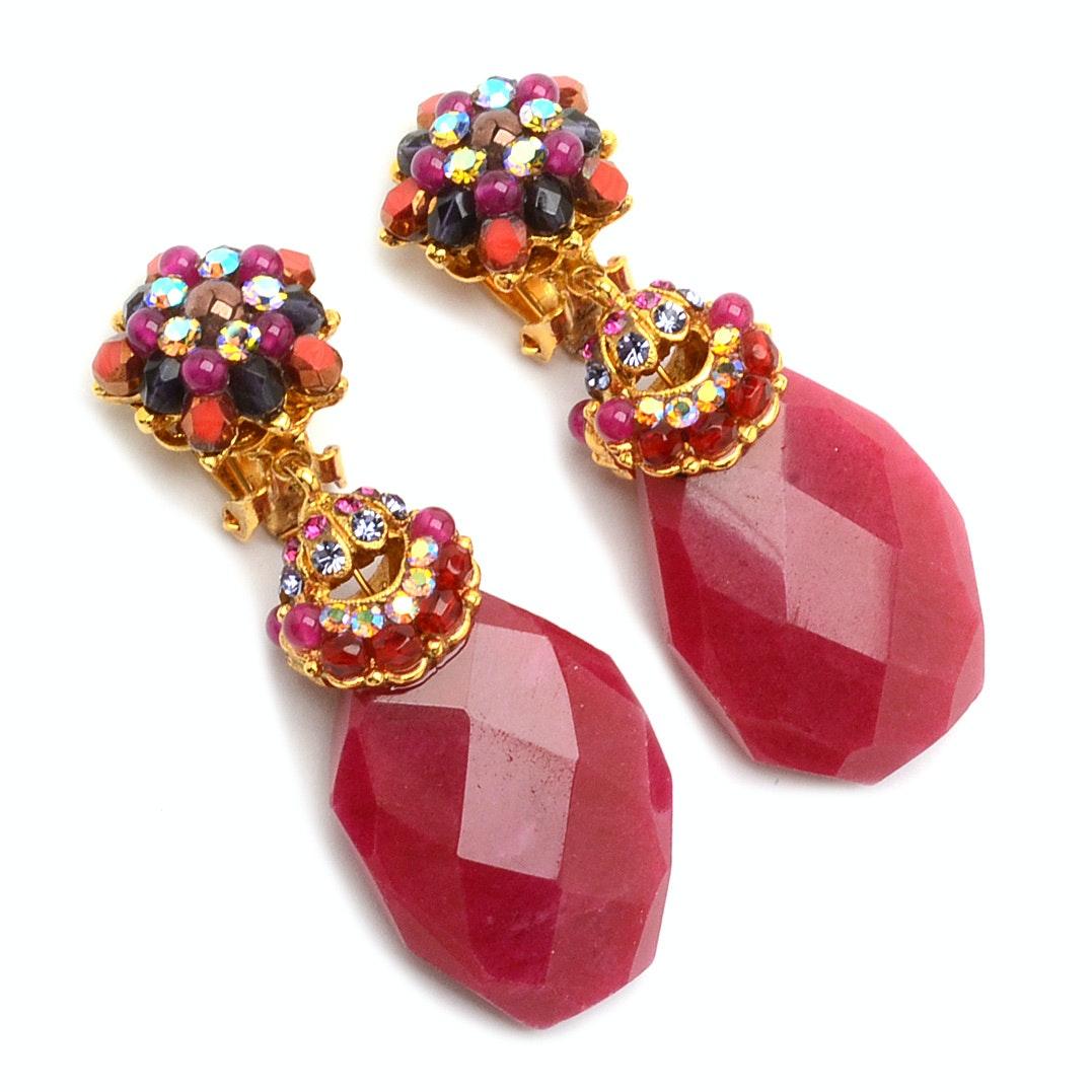 Jose & Maria Barrera Clip-On Earrings Encrusted with Aurora Borealis Crystals