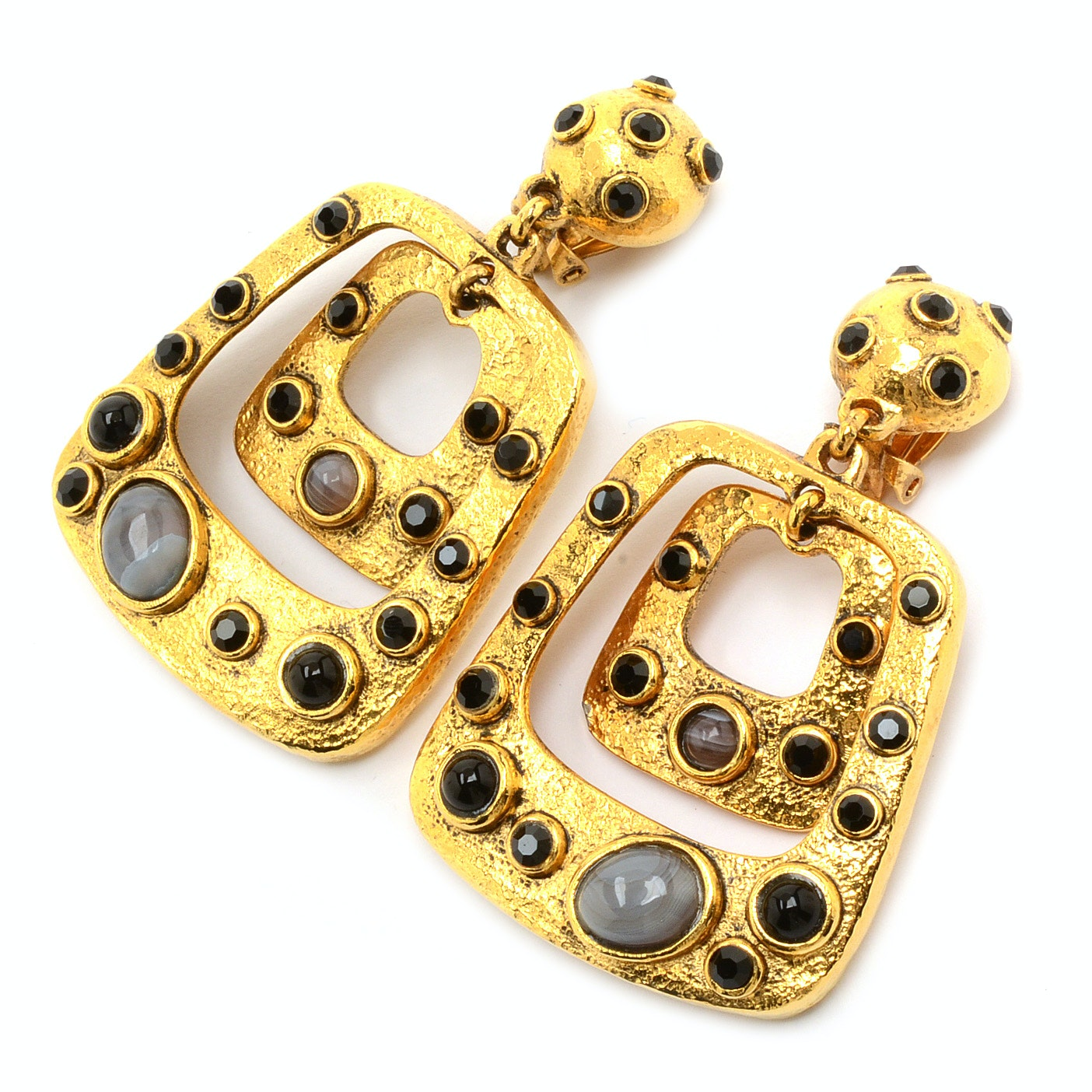 Jose & Maria Barrera 24K Gold Plated Drop Clip-On Earrings with Bezel Set Polished Cabochons and Faceted Crystals