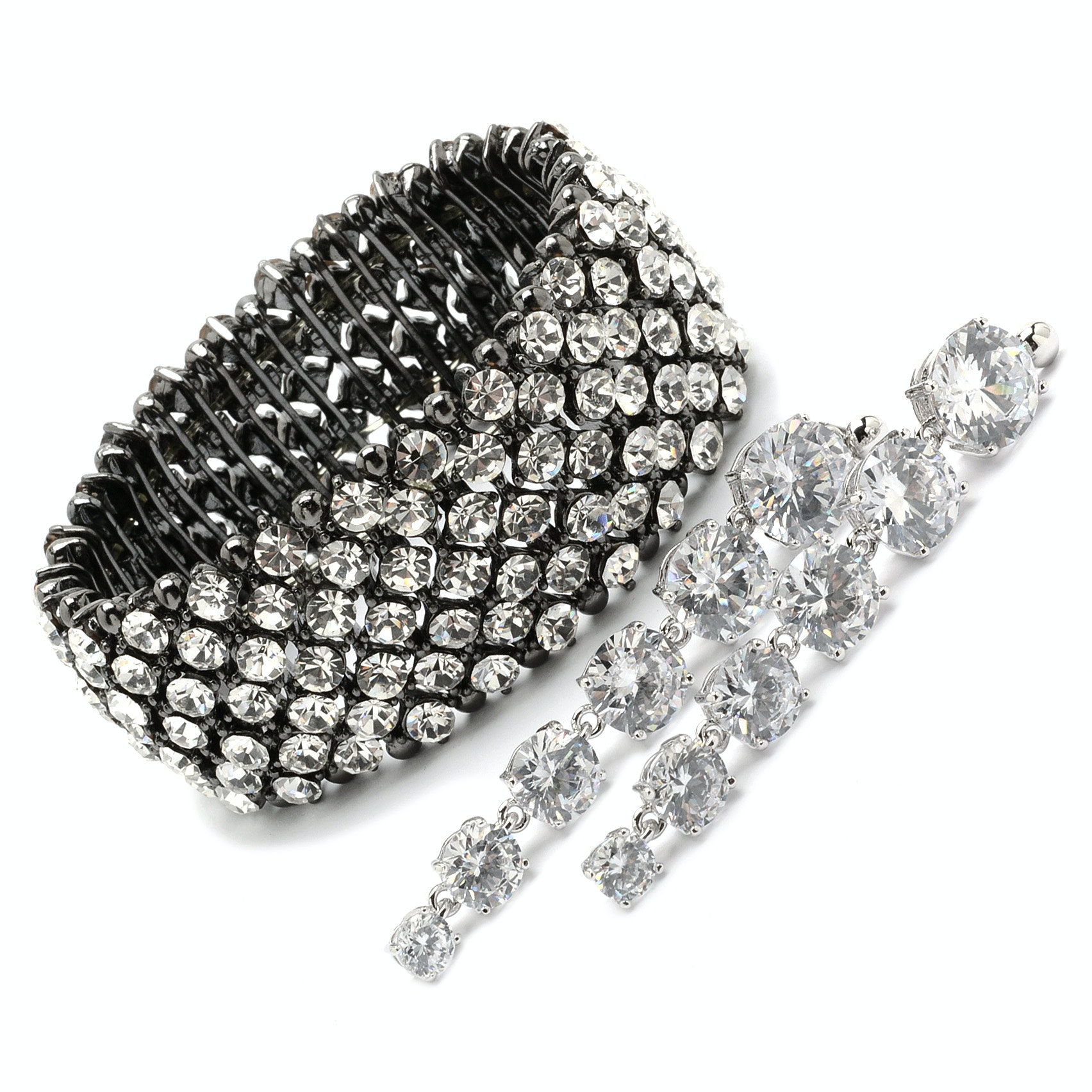 Park Lane Crystal Encrusted Stretch Bracelet and Crystal Drop Pierced Earrings