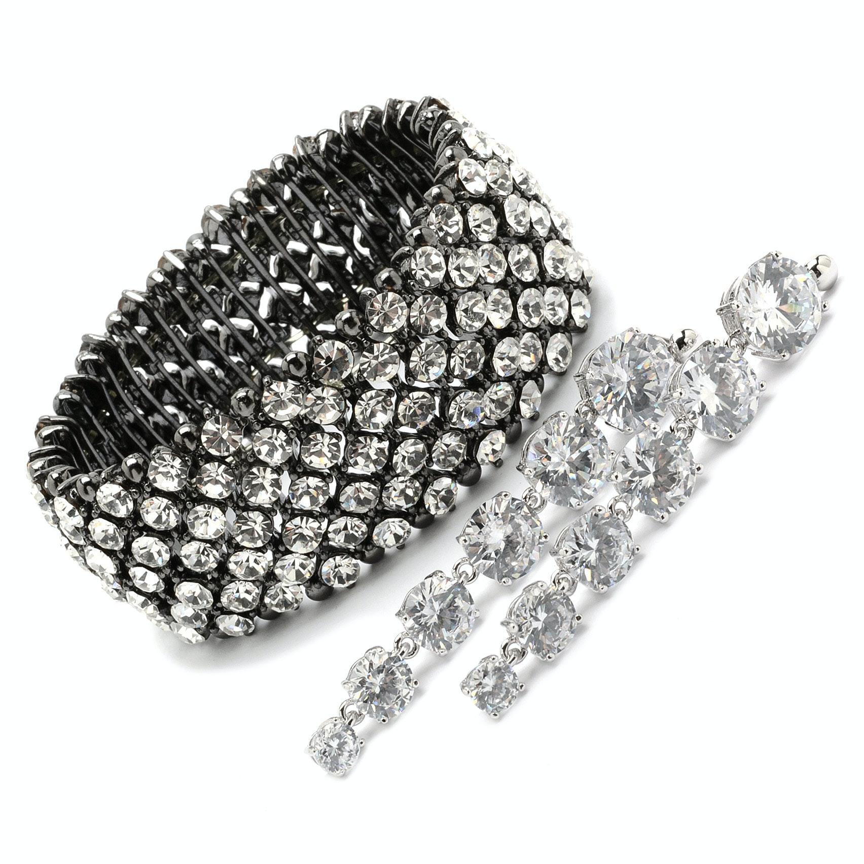 Park Lane Crystal Encrusted Stretch Bracelet and Crystal Drop Pierced Earrings