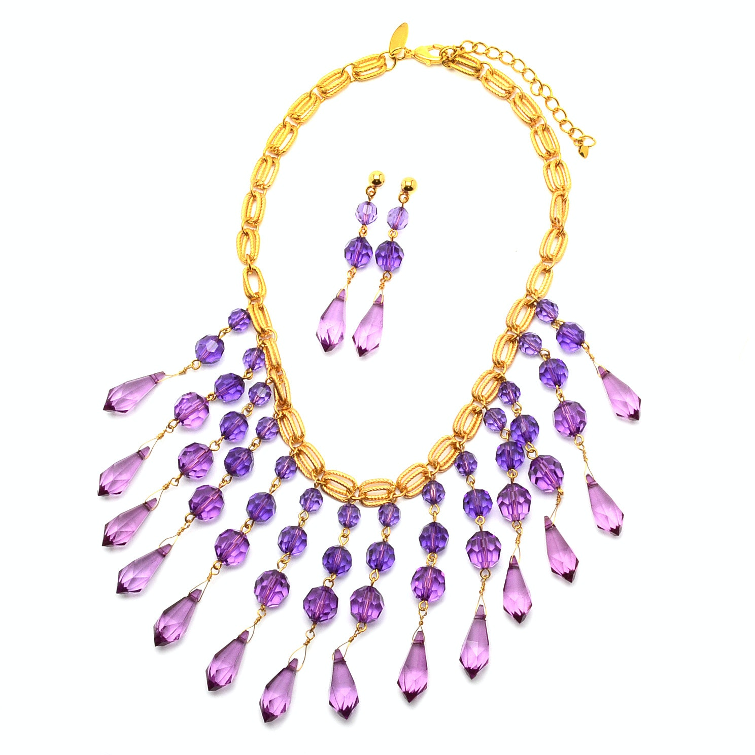 Purple Faceted Beaded Costume Necklace and Drop Pierced Earrings Demi-Parure Set