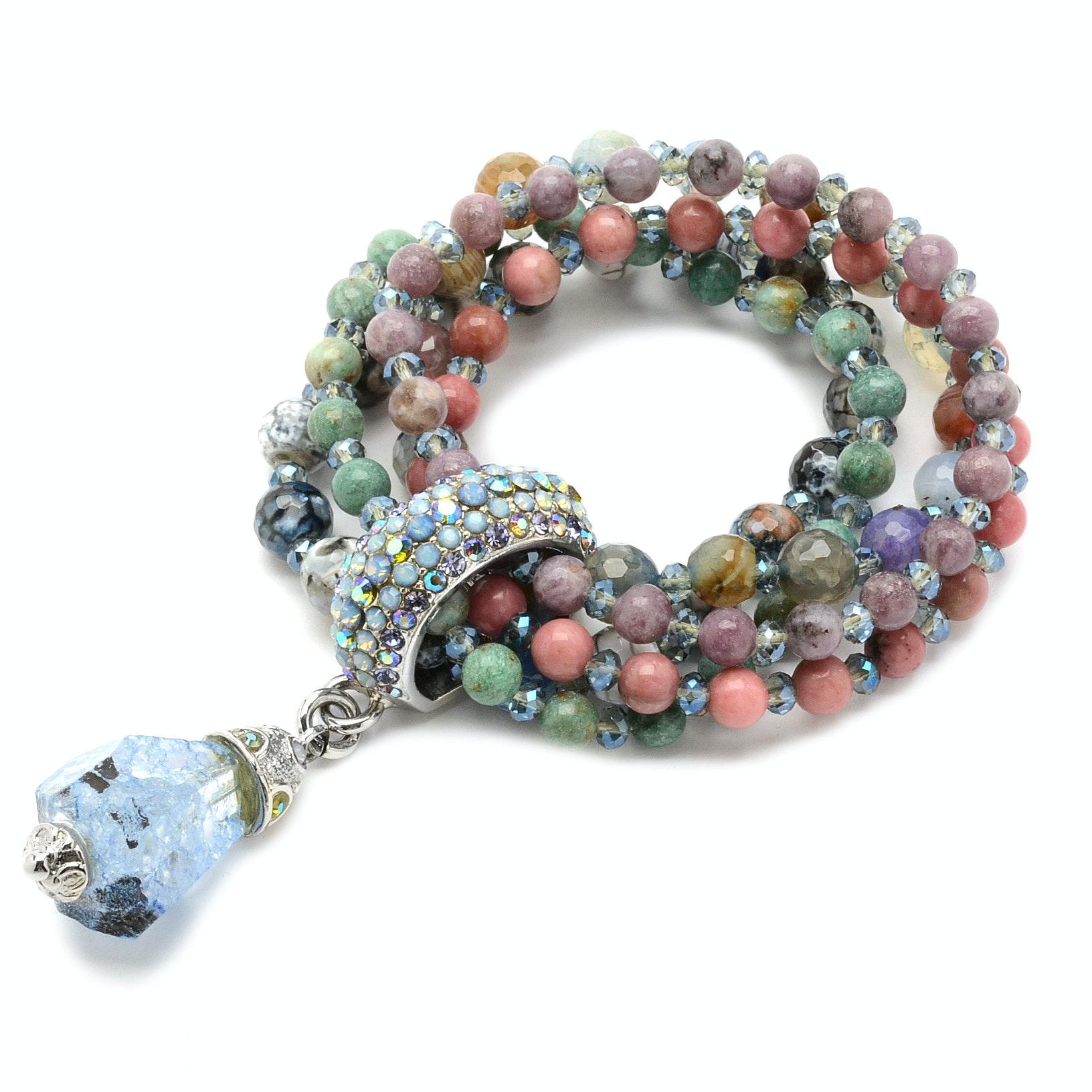 Multi-Strand Beaded Crystal Encrusted Stretch Bracelet