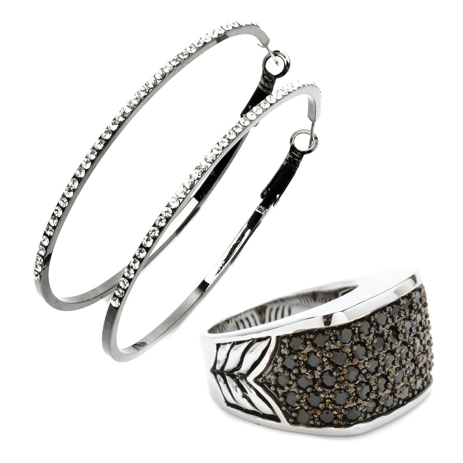 Park Lane Crystal Encrusted Ring and Pierced Earrings