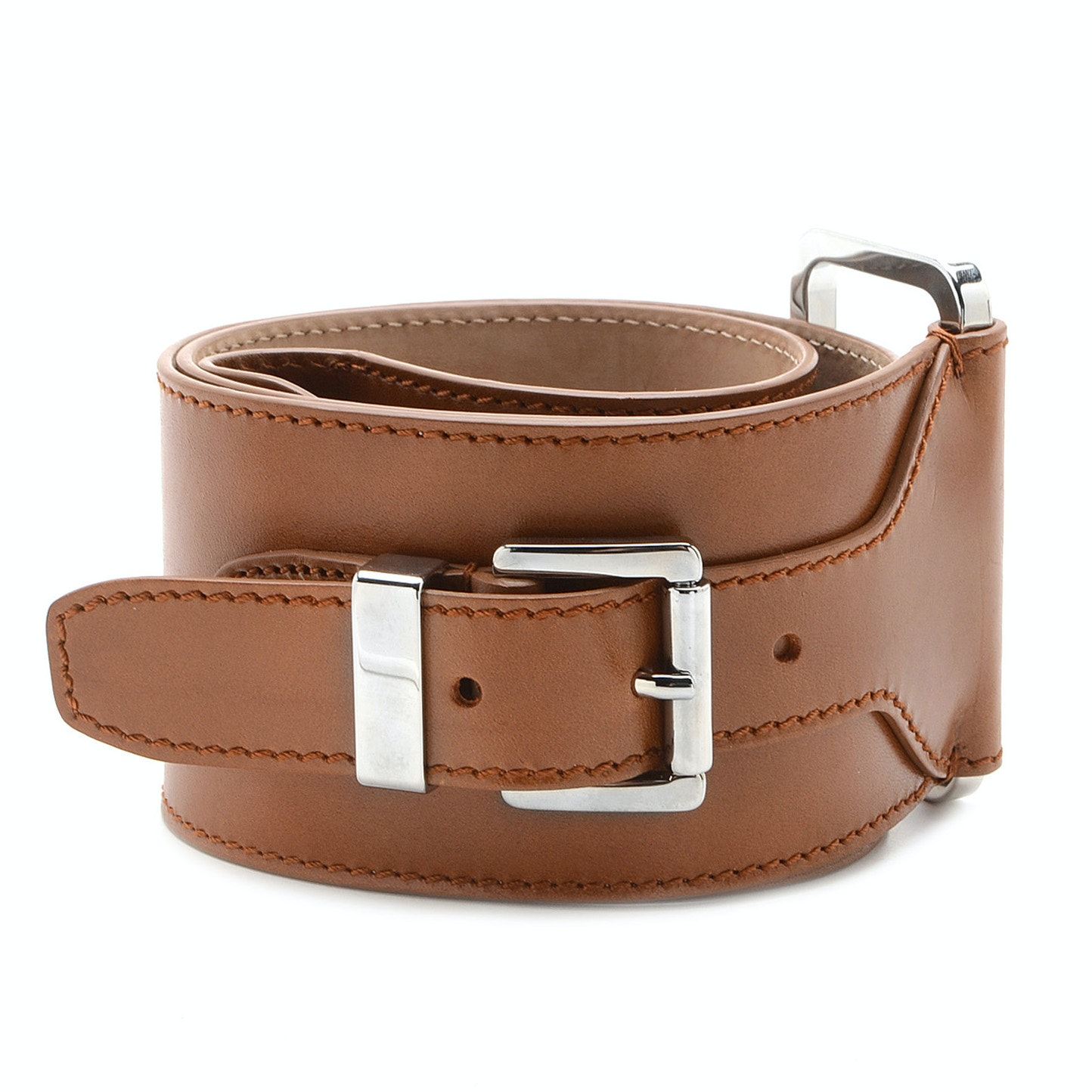 Michael Kors Wide Leather Belt in Golden Brown Leather