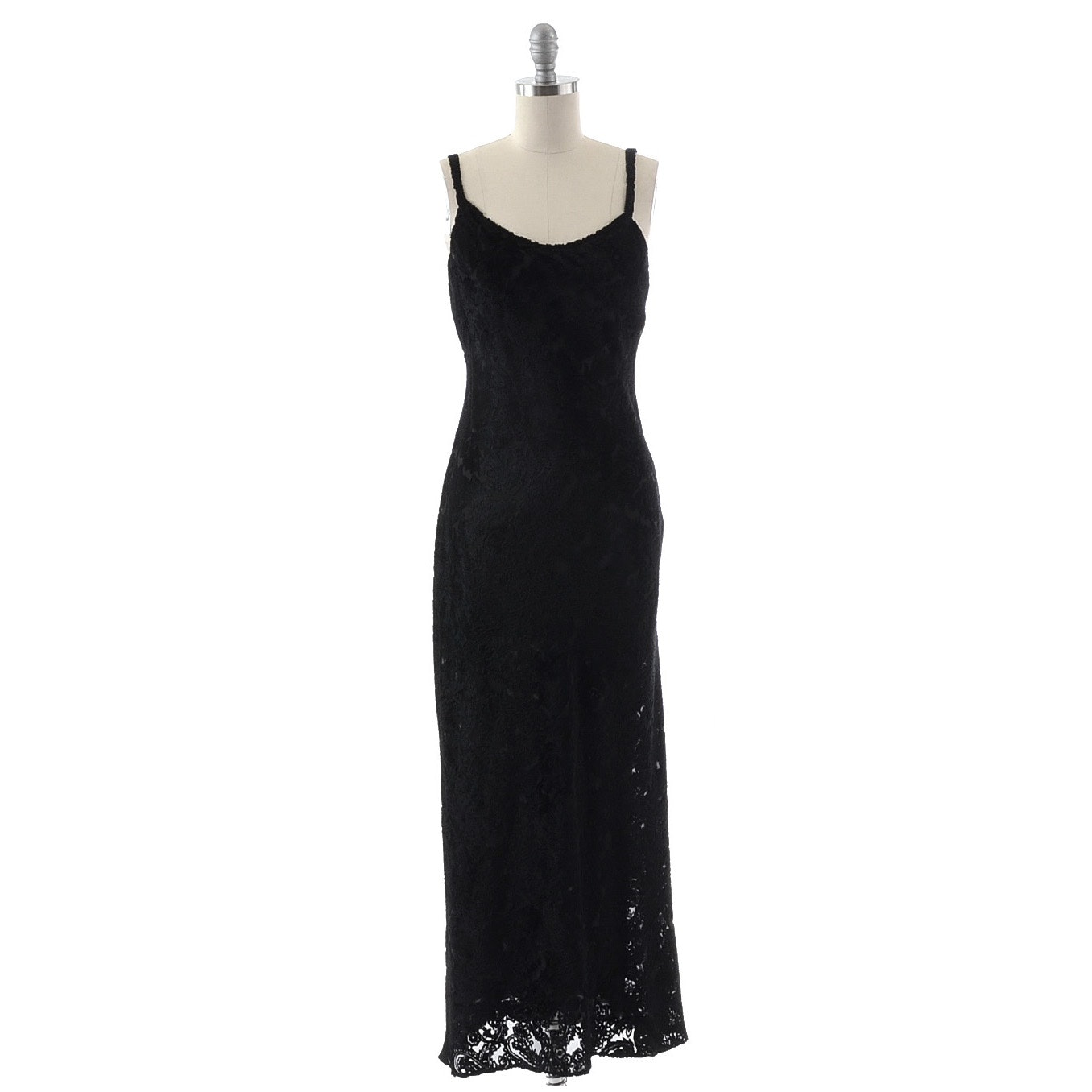 Calvin Klein Collection Black Sleeveless Embossed Velvet and Chiffon Evening Dress in Paisley Print