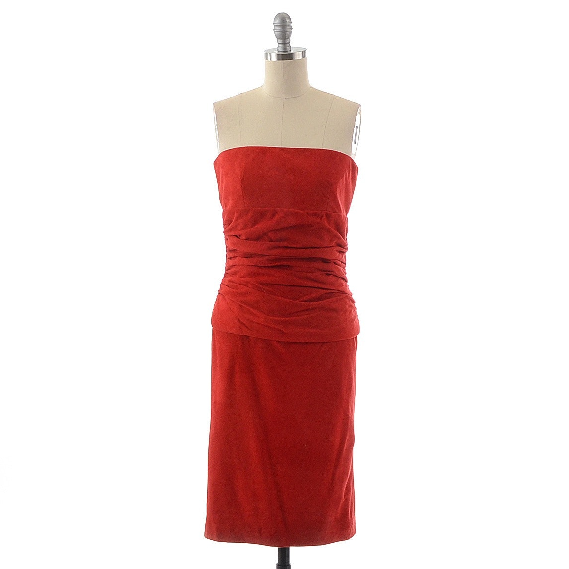 Privato of New York Red Suede Ruched Strapless Cocktail Dress