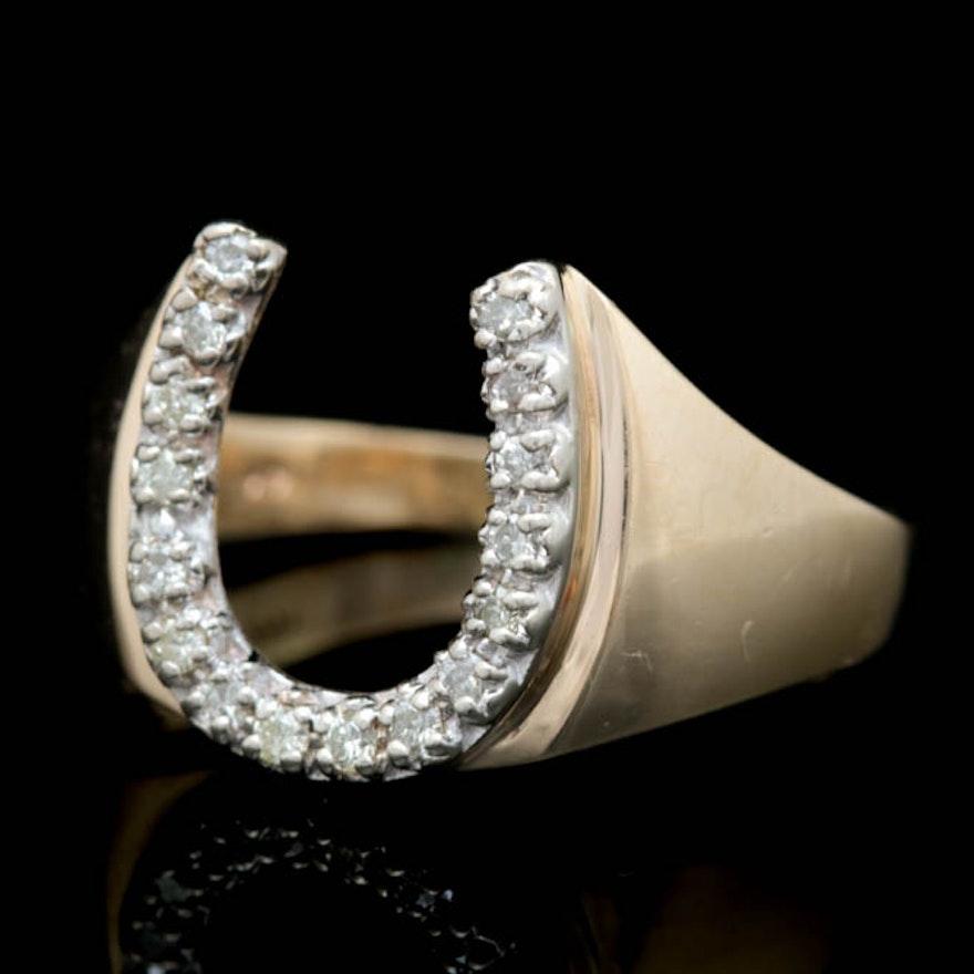 318eb7e6f0c6f Mens 14K Yellow Gold and Diamond Horseshoe Ring