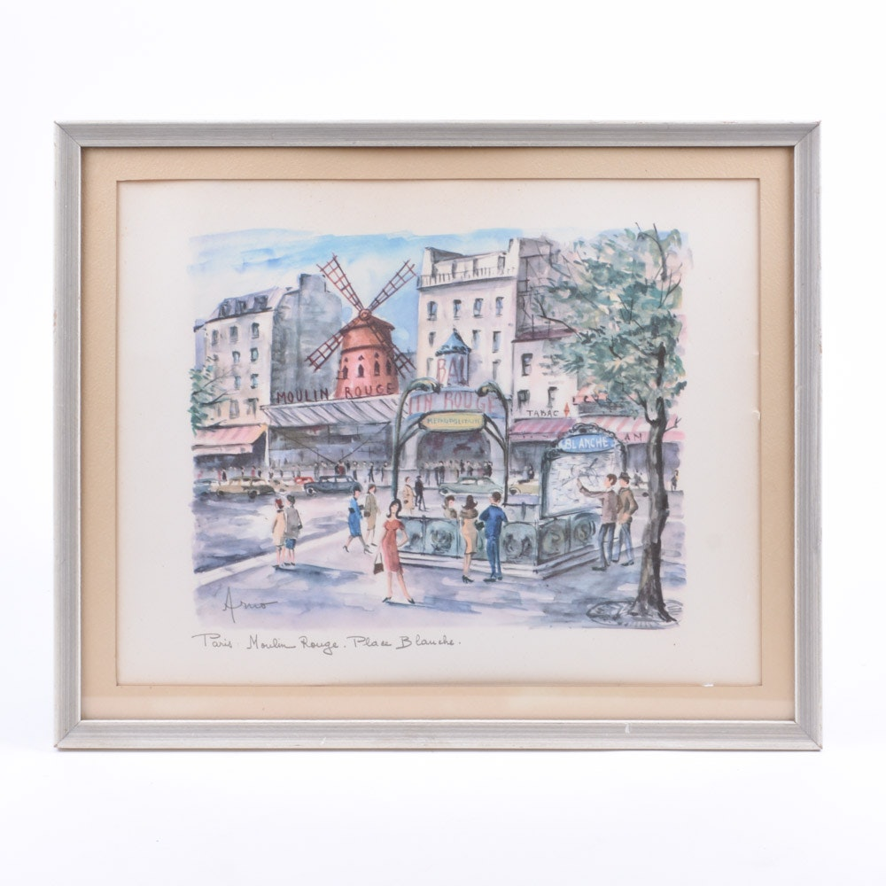 Signed Place Blanche Offset Lithograph