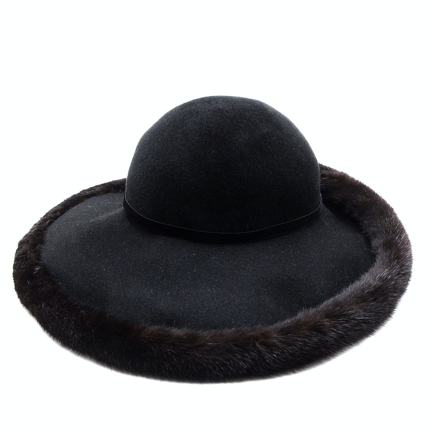 236d5e852ac Tracey Tooker of New York Fine Millinery Black Imported Fur Felt Picture Hat  Trimmed in Black Rabbit Fur   EBTH
