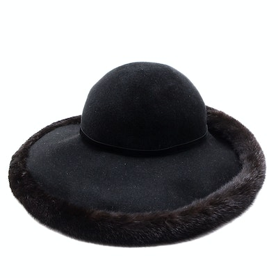 Tracey Tooker of New York Fine Millinery Black Imported Fur Felt Picture Hat Trimmed in Black Rabbit Fur