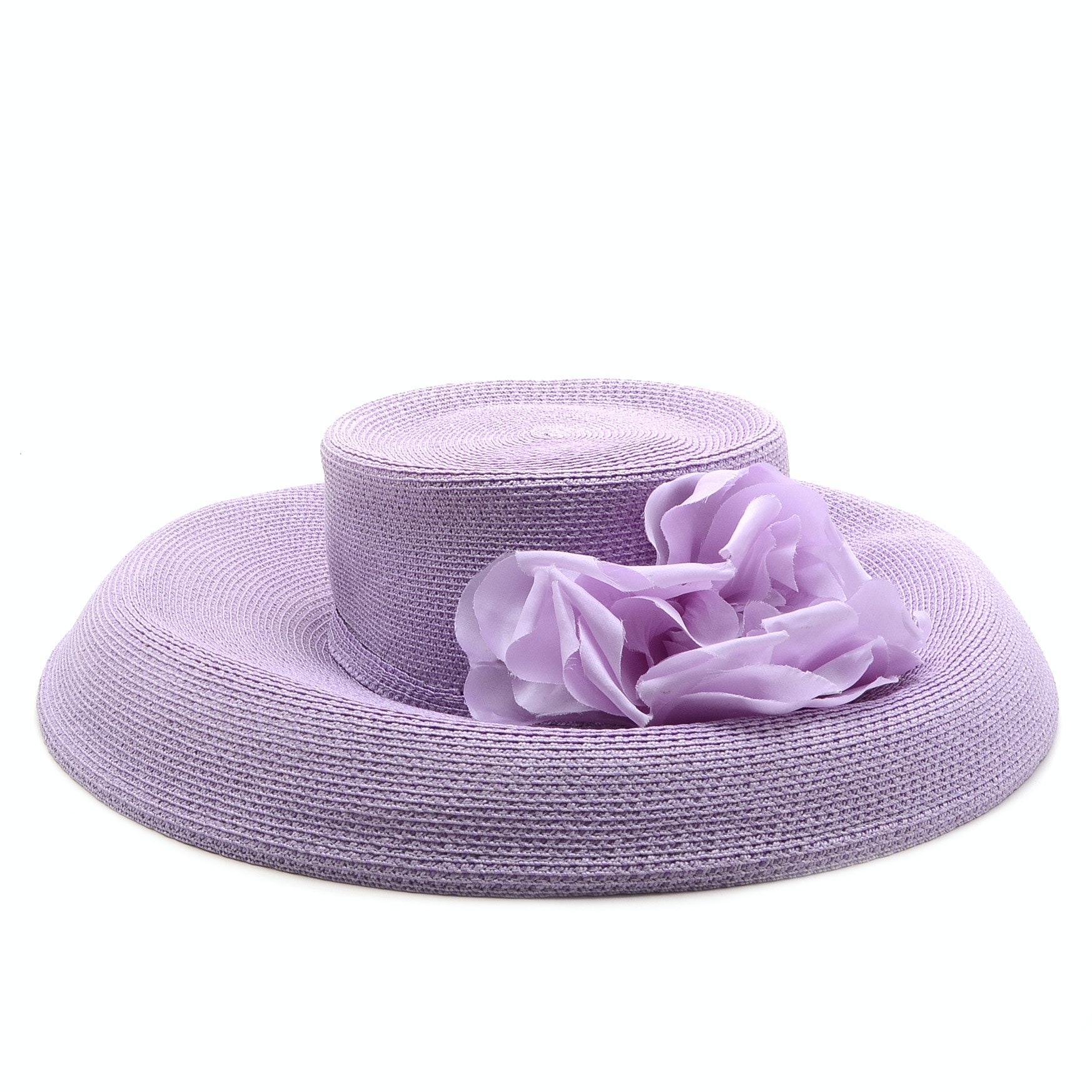 Tracey Tooker of New York Fine Millinery Lilac Cellophane Picture Hat with Florals