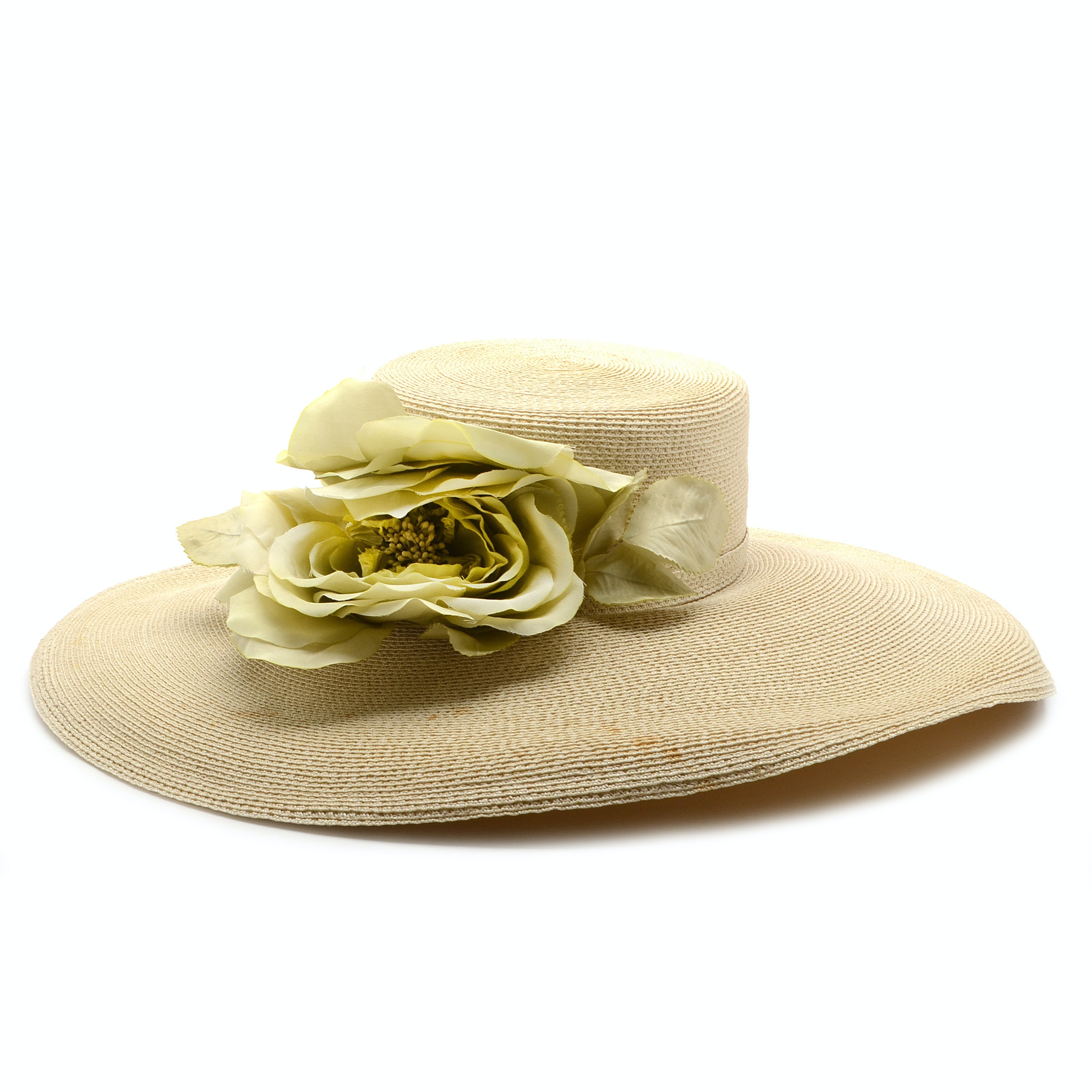 Tracey Tooker of New York Fine Millinery Ivory Cellophane Picture Hat with Floral