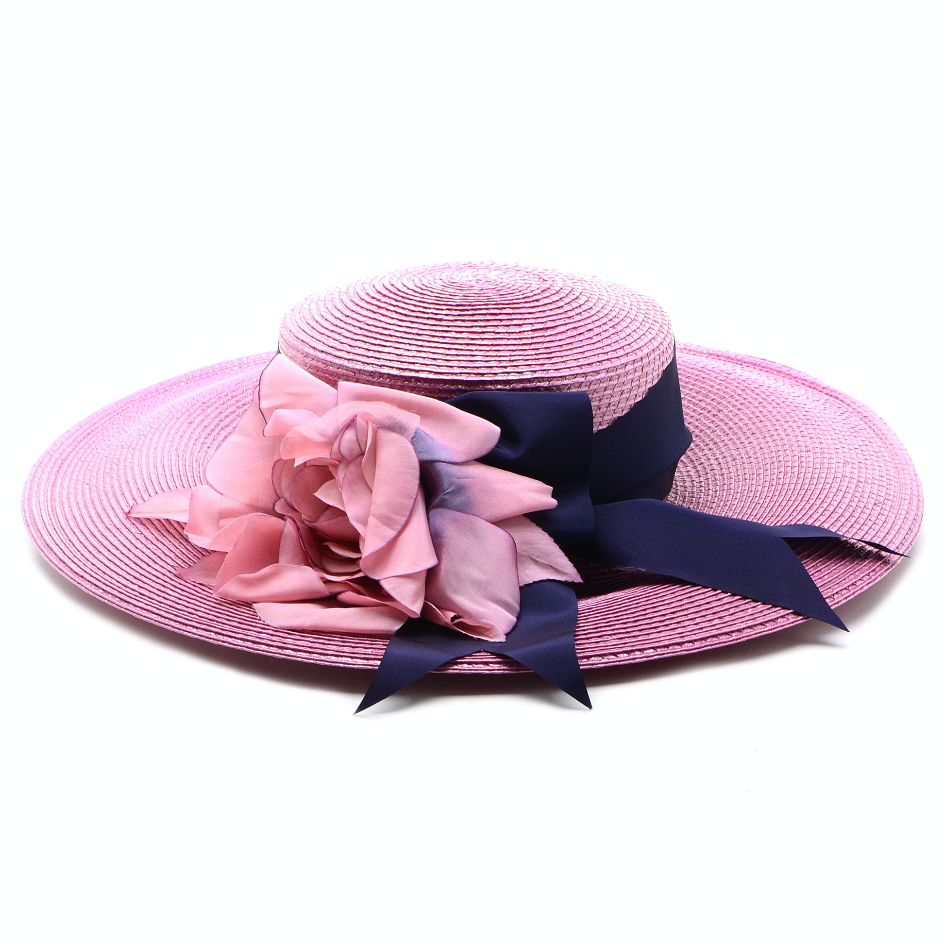 Paula Del Percio of East Hampton Fine Custom Millinery Cellophane Hat with Wide Grosgrain Indigo Ribbon and Dyed Floral