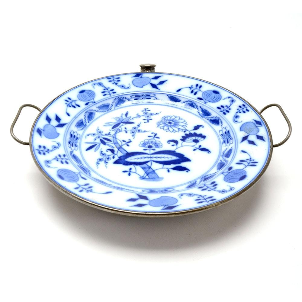 "Antique Meissen ""Blue Onion""Patterned Porcelain Oval Warming Tray"