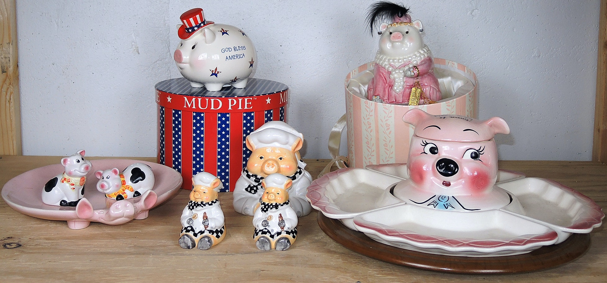 California Pottery Pink Pig Server with Piggy Banks, Salt and Pepper