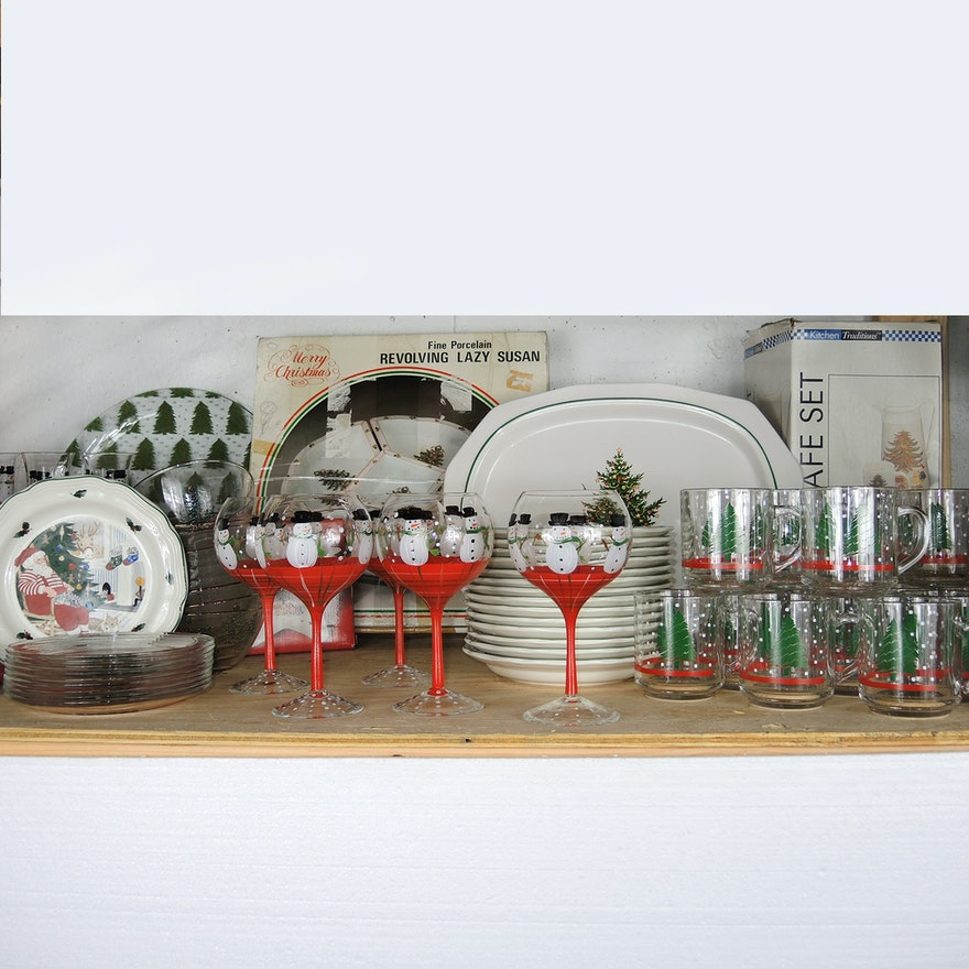 christmas serving dishes glasses and plates