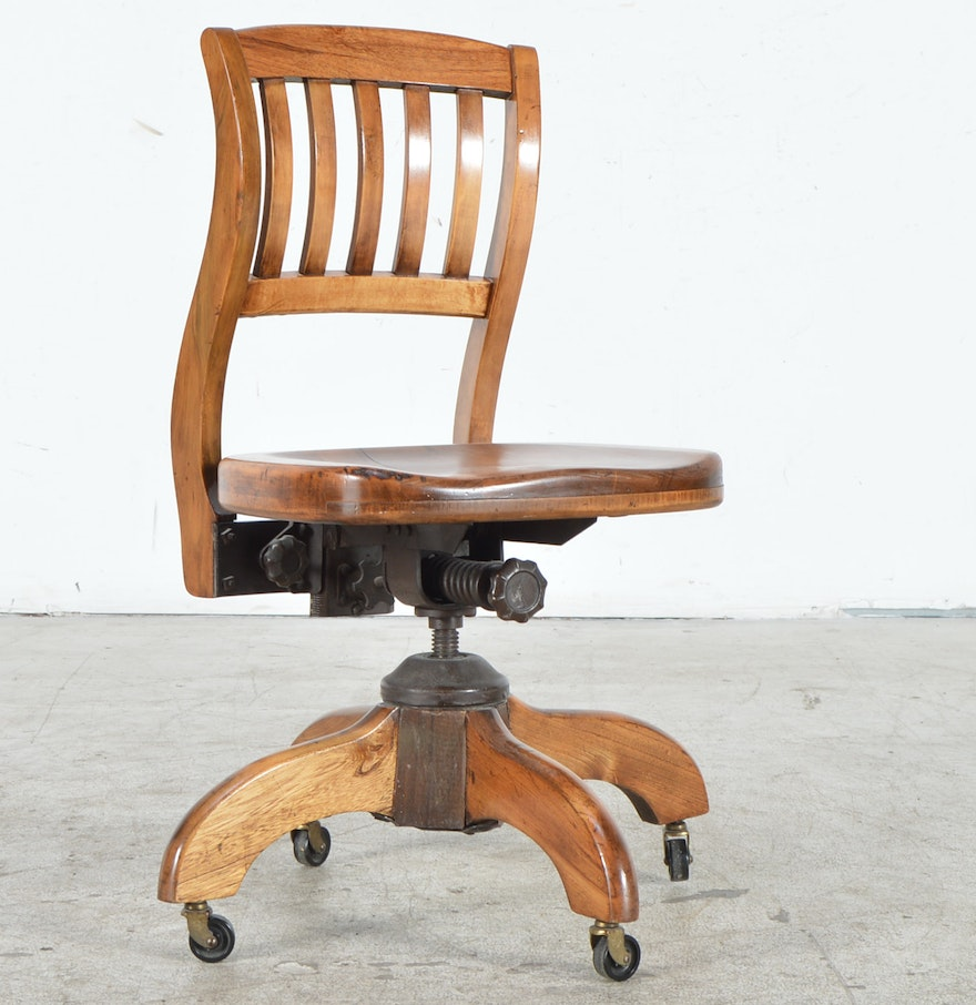 Vintage armless chairs - Vintage Oak Murphy Office Chair