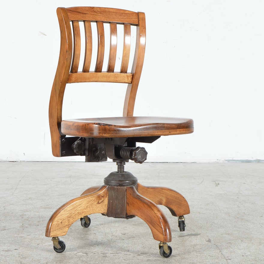 Phenomenal Vintage Oak Murphy Office Chair Spiritservingveterans Wood Chair Design Ideas Spiritservingveteransorg