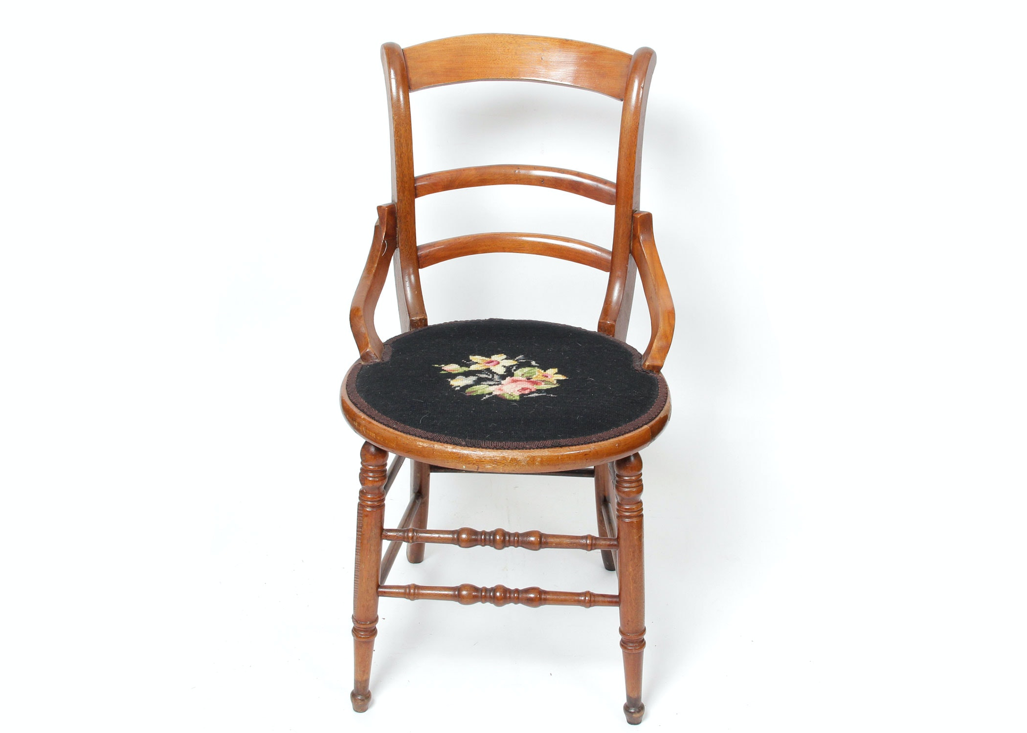 Antique Walnut Side Chair With Needlepoint Seat ...