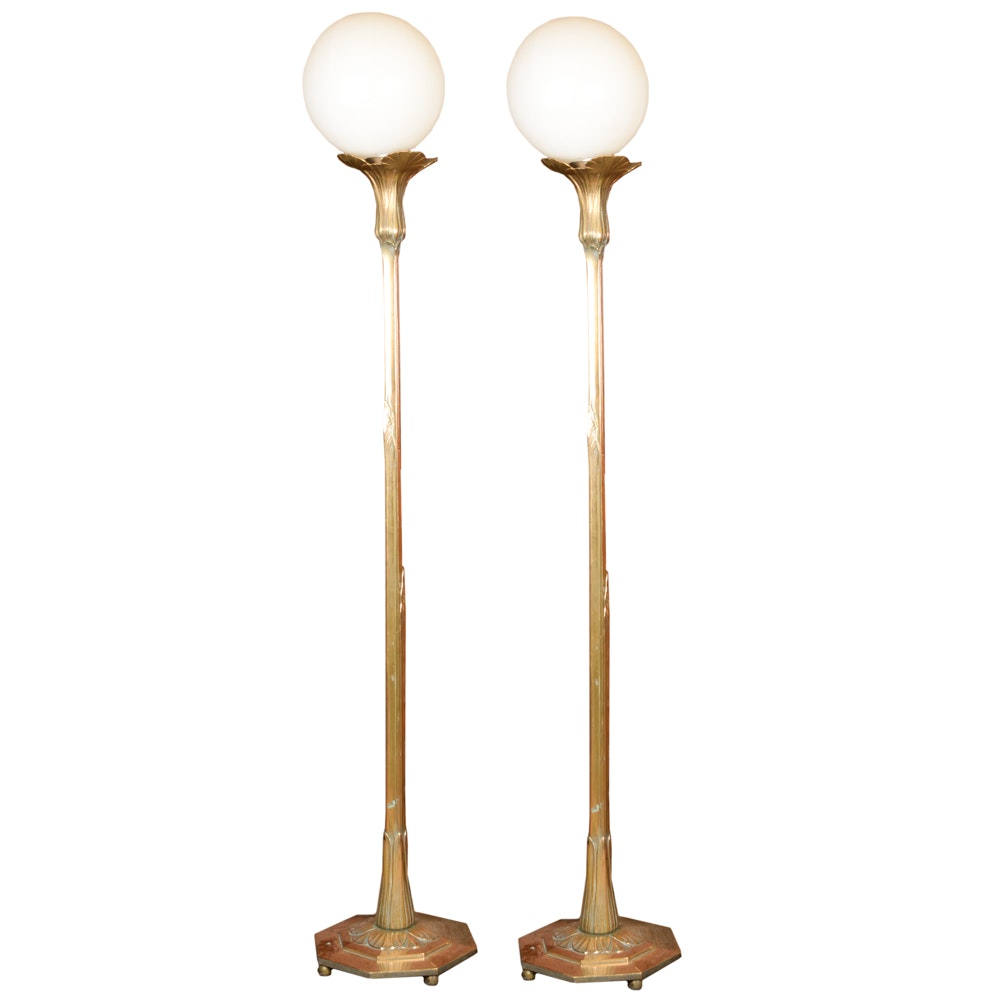 Pair of Art Nouveau Brass Floor Lamps