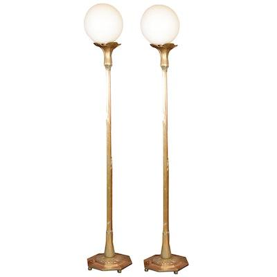 Pair of Art Nouveau Brass Floor Lamps