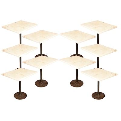 Ten Restaurant Pedestal Tables With Cast Metal Bases