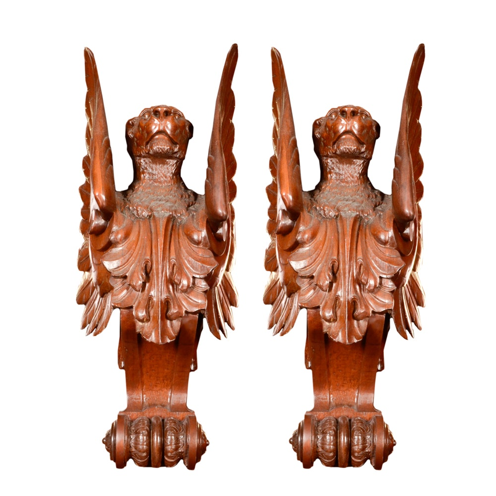 Pair of Winged Lion Architectural Elements