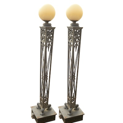 Pair of Large Iron Deco-Style Outdoor Lampposts