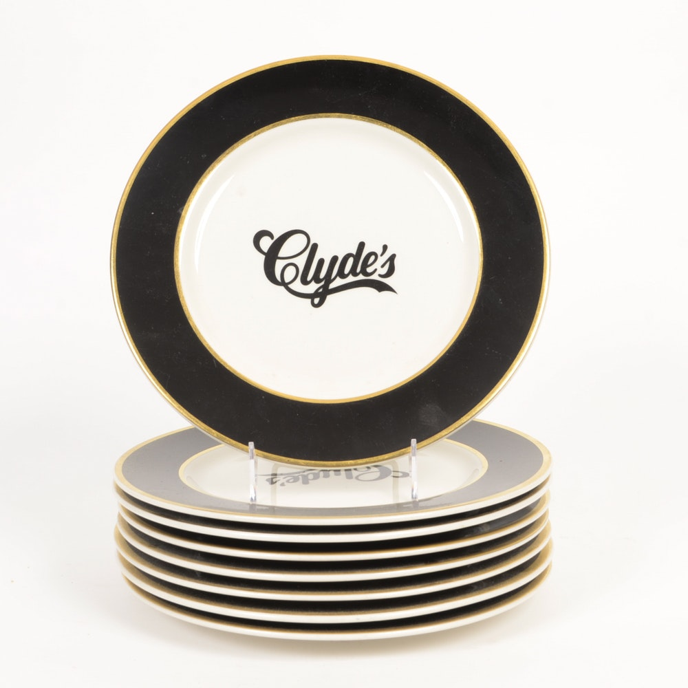 "Eight ""Clyde's"" Dinner Plates"
