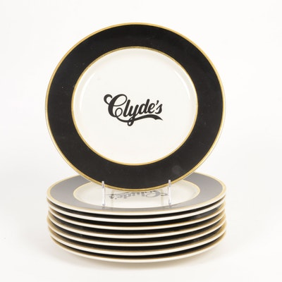 "Eight ""Clyde's"" Dinner Plates"
