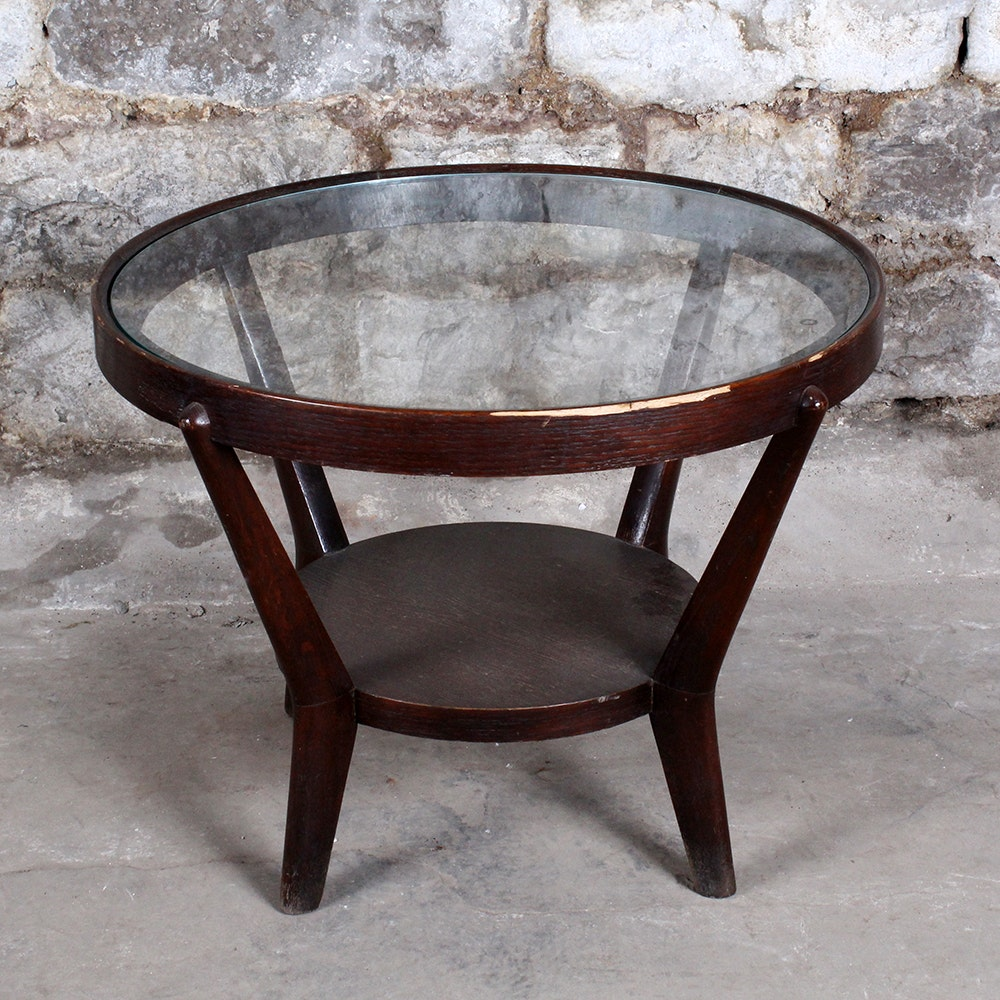 Round Walnut Stained Glass Top Table