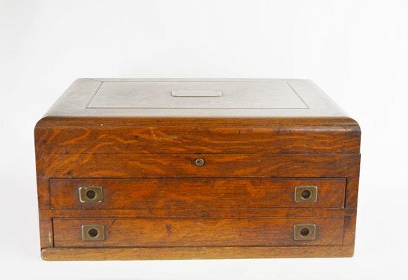 Antique Oak Flatware Storage Case ...