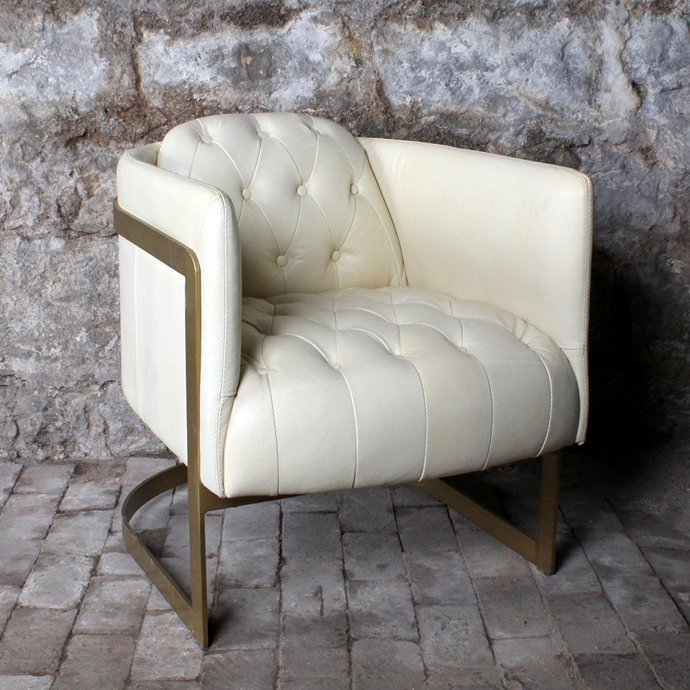 Leather Tufted Back Tub Chair