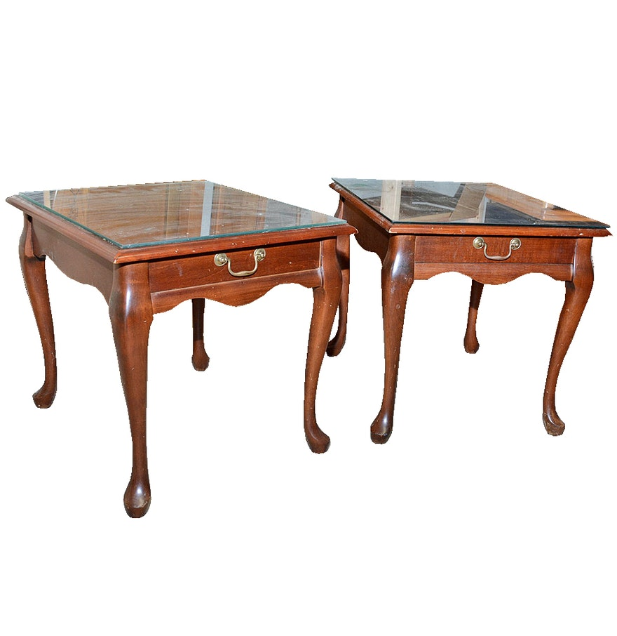 Mersman Furniture Glass Top Mahogany End Tables Ebth