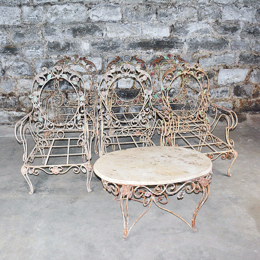 wrought iron vintage patio furniture. Vintage Outdoor Wrought Iron Patio Furniture Set B