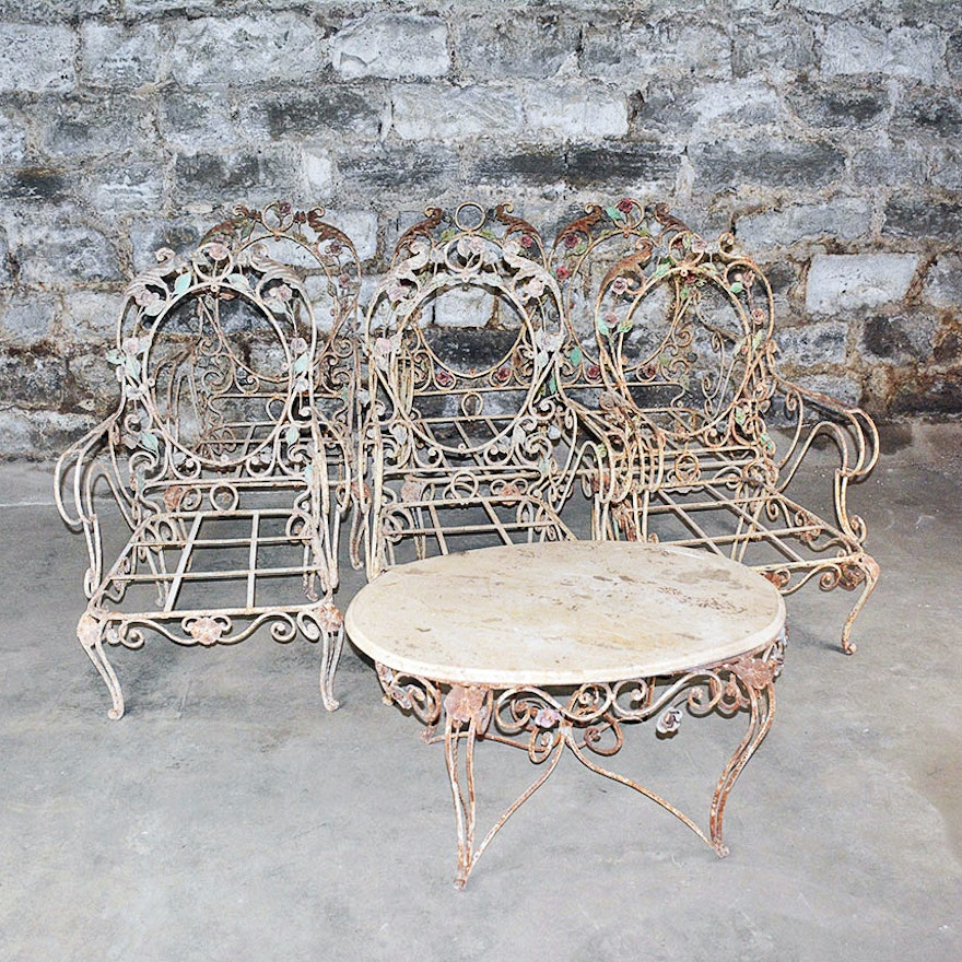 Vintage outdoor wrought iron patio furniture set ebth Metal patio furniture vintage