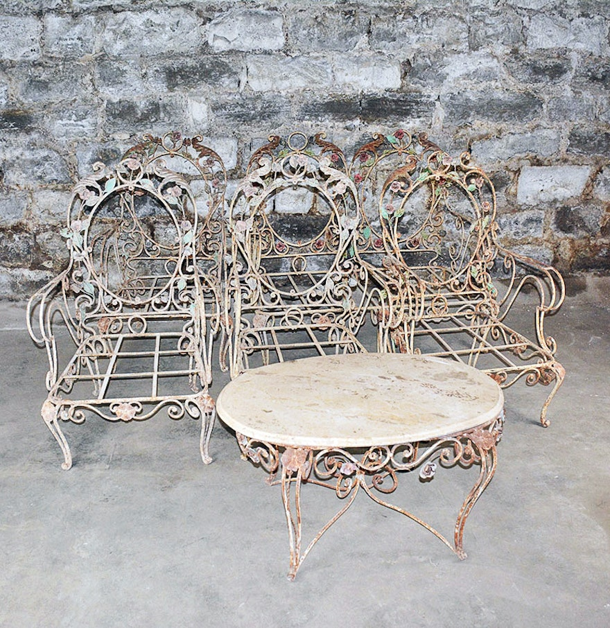Vintage outdoor wrought iron patio furniture set ebth for Wrought iron furniture