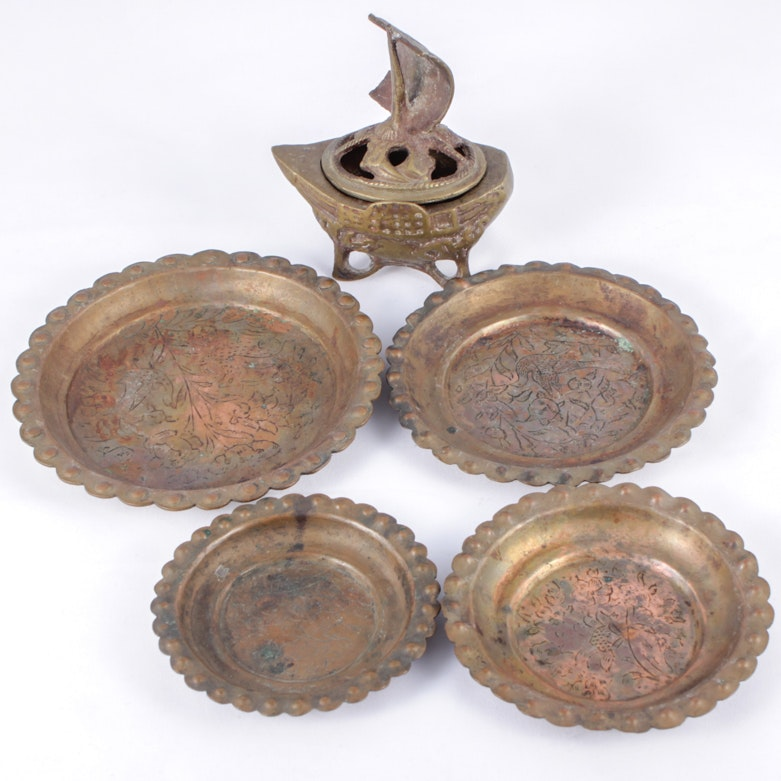 Japanese Brass Ship Box and Nesting Plates