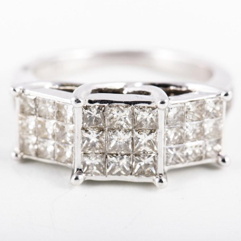 10K White Gold and 3.60 CTW Diamond Past, Present, Future Ring