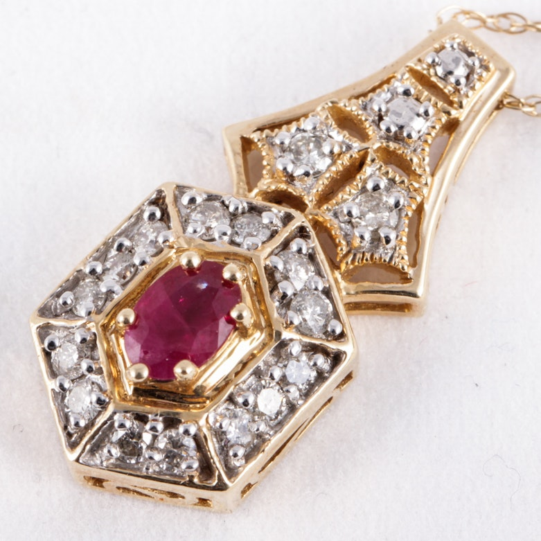 14K Yellow Gold, Ruby, and Diamond Drop Pendant Necklace