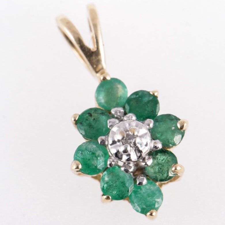 14K Yellow Gold, Emerald, and Diamond Pendant