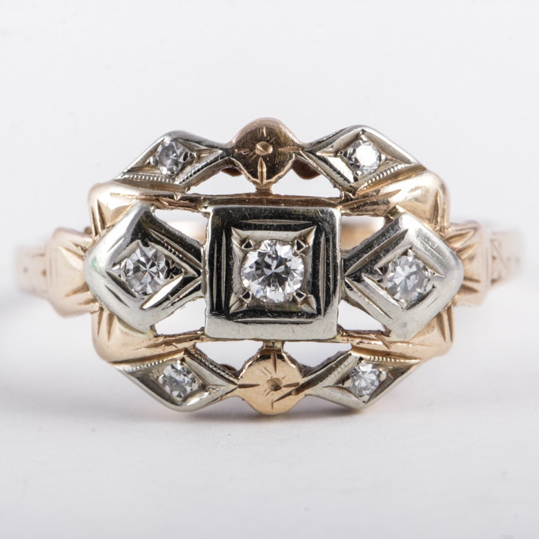 Art Deco 14K Gold and Diamond Openwork Ring
