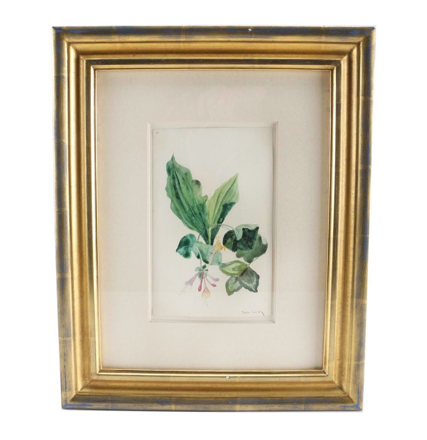 "Charles DeWolf Brownell Watercolor on Paper ""Flowers and Leaves, Bristol CT"""