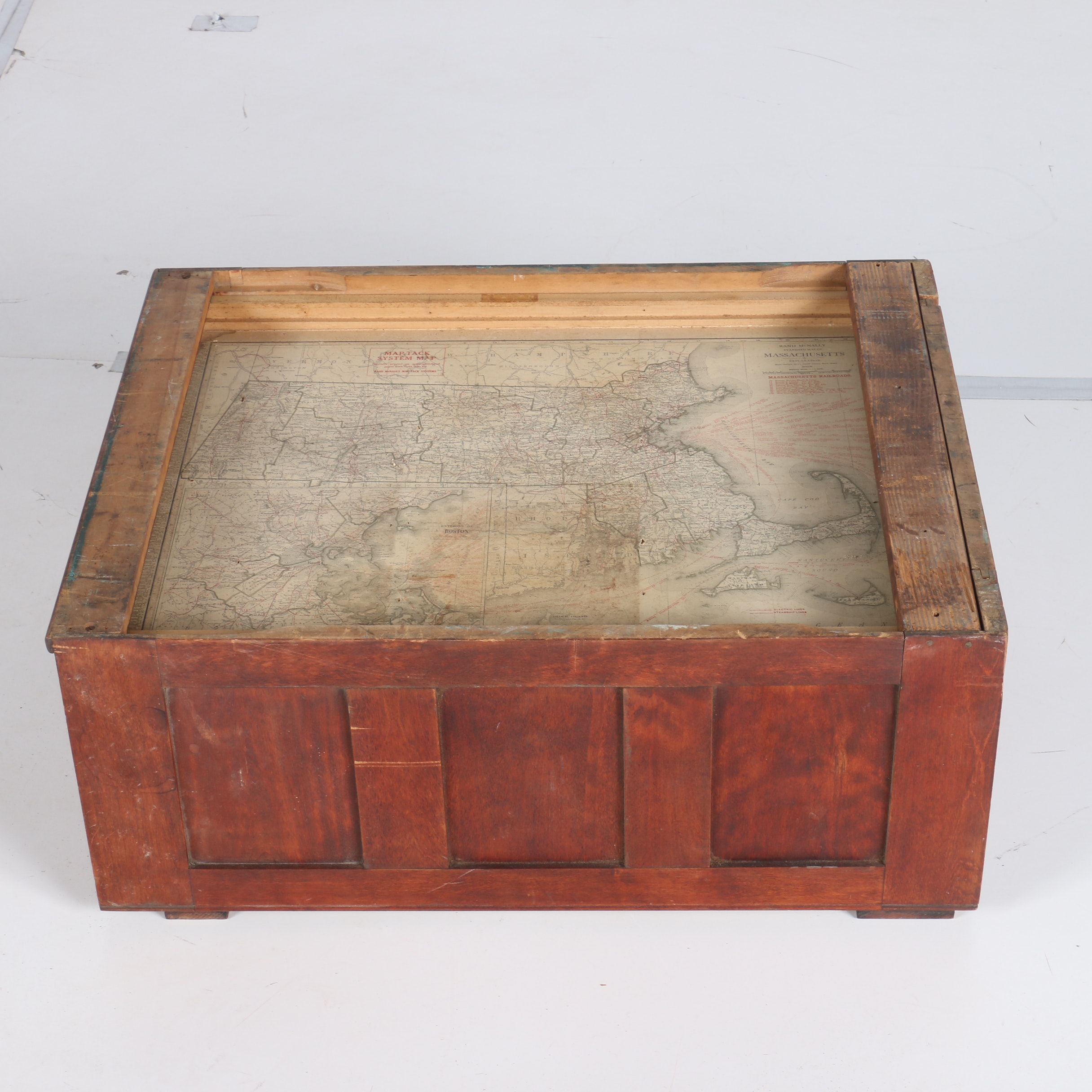 Antique Cherry Wood Rand McNally Map-Tack System Maps