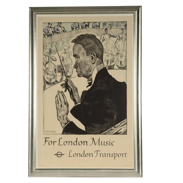 "John Copley Stone Lithograph London Transport Poster ""For London Music"""