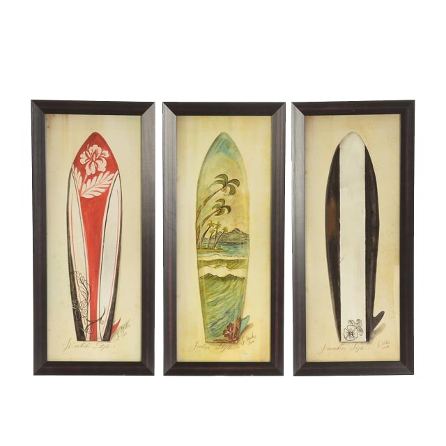 Three Kolene Spicher Signed Giclées of Hawaiian-Themed Surboards