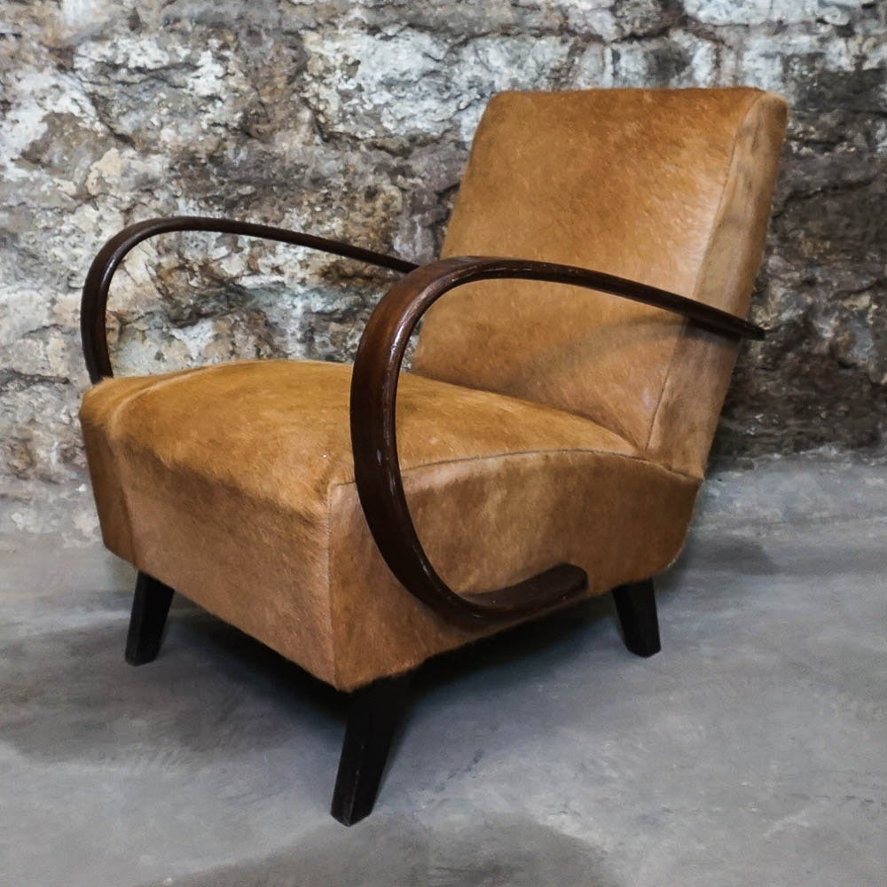 Mid Century Modern Hide Upholstered Arm Chair by Jindřich Halabala