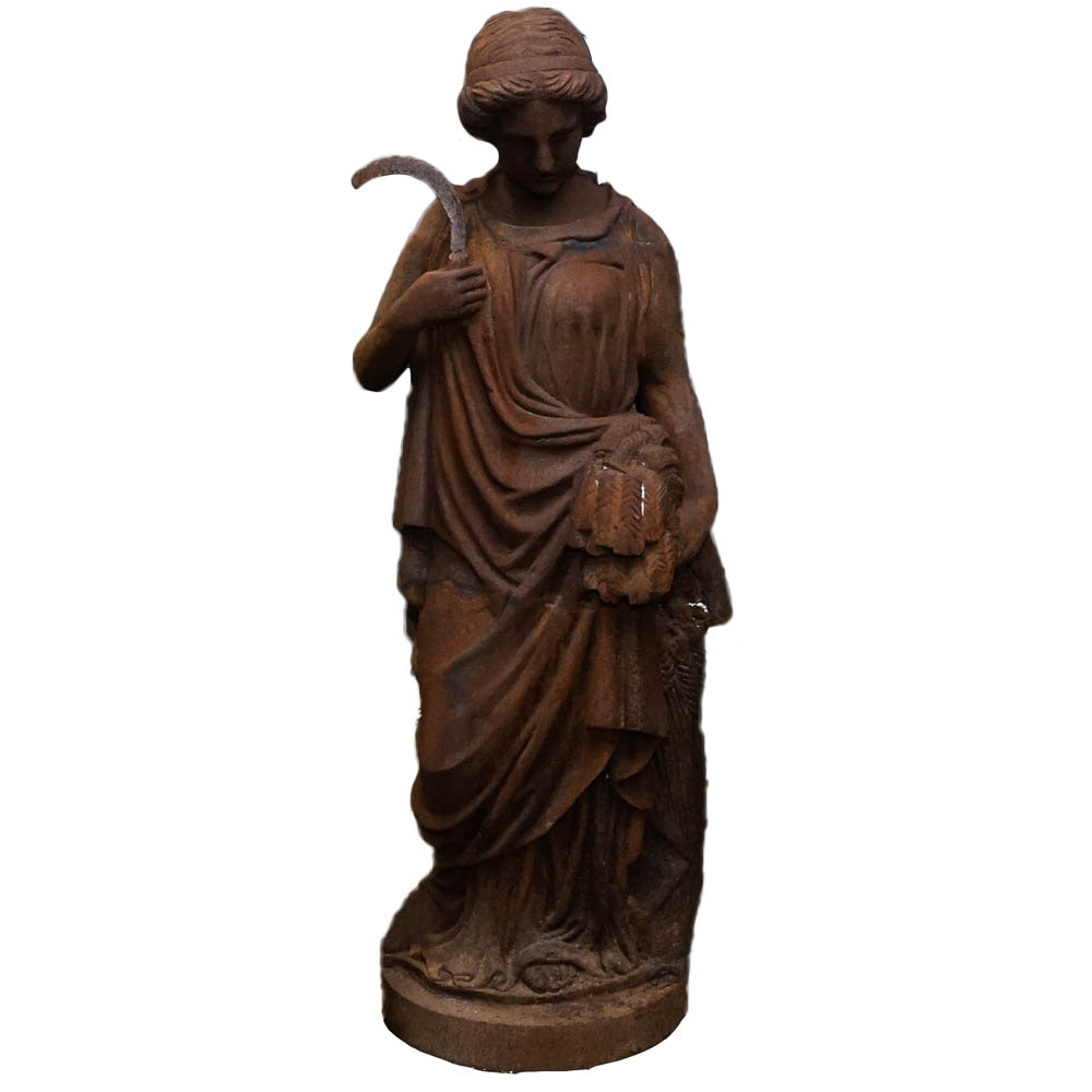 Outdoor Cast Iron Statue of An Ancient Roman Woman