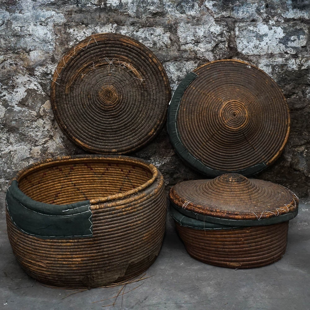 Large Coiled Indian Baskets