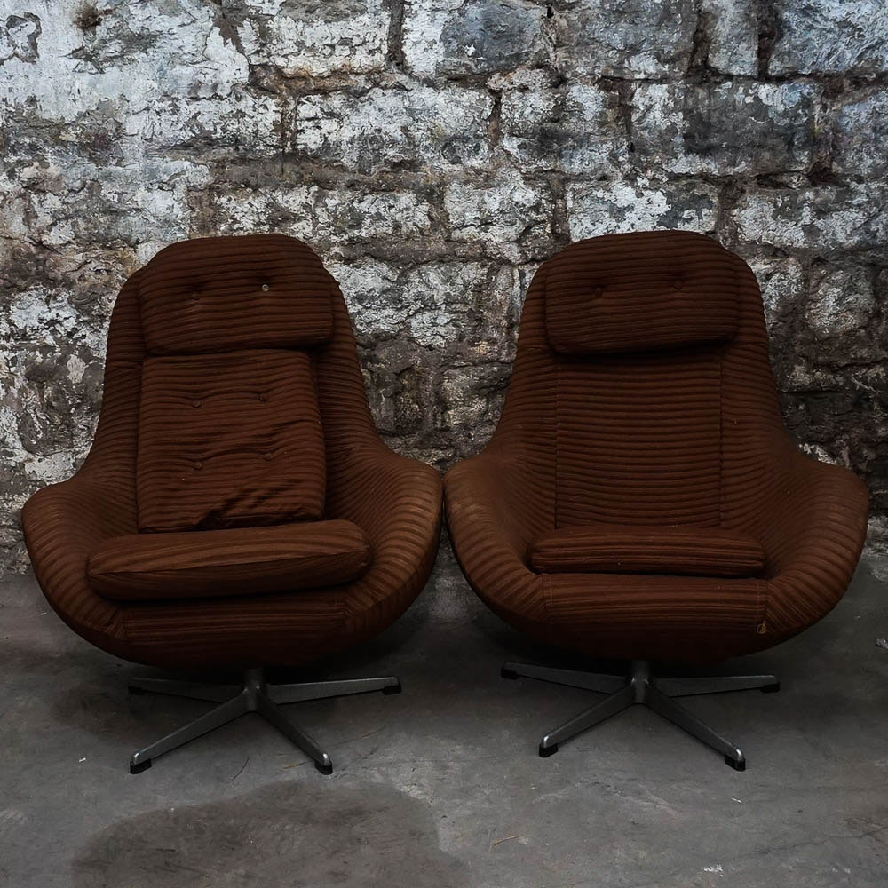 Mid Century Modern Brown Upholstered Arm Chairs